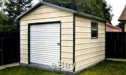 10 x 12 Metal Storage Shed with a Floor and a 6 x 6 rollup door Installed