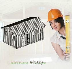 12x20 Gable Storage Shed, Detailed Framing Plans On Cd, Unique Shed Shop Plans