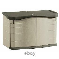 2' x 5' Horizontal Outdoor Resin Storage Shed with Split Lid, Olive &