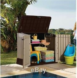 4' x 2' Outdoor Garden Horizontal Tool Storage Organization Patio Resin Shed