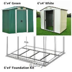 6' x 4' Garden Storage Shed Steel Garage Utility Tool Outdoor Lawn Foundation