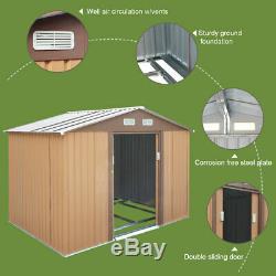 6' x 9' Backyard Garden Storage Shed Outdoor Utility Tool Garage with Sliding Door