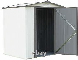 6ft x 5ft Arrow EZEE Shed Steel Storage Shed Low Gable Cream with Charcoal Trim