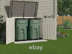 70cuft Outdoor Resin Storage Shed Horizontal All-weather Plastic Patio Container