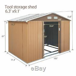 9x6x6ft Outdoor Backyard Lawn House Garden Storage Tool Shed Kit withSliding Doors