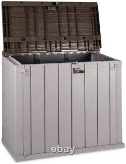 All-Weather Outdoor Horizontal Storage Shed Cabinet for Trash Cans Garden Tools