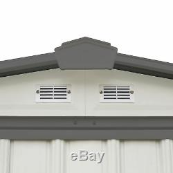 Arrow EZEE Shed Steel Storage Shed 6ft x 5ft Low Gable Cream with Charcoal Trim