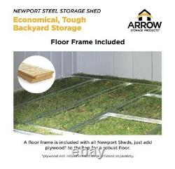 Arrow Newport 10ft x 8ft Galvanized Metal Shed And Steel Floor Frame Kit