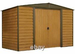 Arrow Sheds WR106 Woodridge Steel Storage Shed 10 ft. X 6 ft. Woodgrain/Coffee