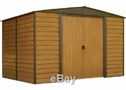 Arrow Sheds WR108 Woodridge Steel Storage Shed 10 ft. X 8 ft. Woodgrain/Coffee