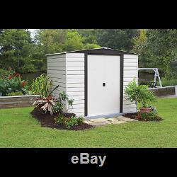 Arrow Storage Products Vinyl Dallas Vinyl-Coated Steel Storage Shed, 8 ft. X