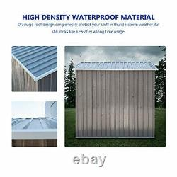 BAHOM Horizontal Outdoor Storage Shed 3.5X6 FT Without Floor Base, Lockable Orga