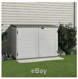 BMS4700 Storage & Garbage Can Shed, Resin, Holds Two 96-Gal. Containers, 70-Cu