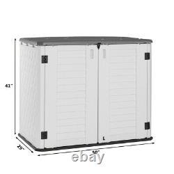 Backyard Yard Garden Patio-Store Horizontal Storage Shed Cabinet HDPE 34 cu. Ft