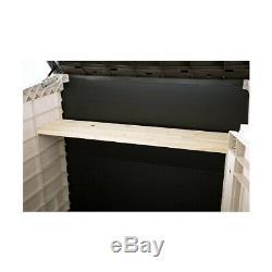 Beige Brown 42 Cu Ft Outdoor/Garden Wood Look PP Plastic Resin Storage Shed