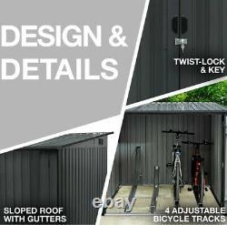 Bike Storage Water Resistant Bicycle Shed Lockable Outside Yard Garden Metal