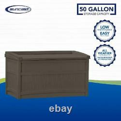 Deck Storage Boxes Outdoor 50 Gallon Resin Seat Light Backyard Organize Sheds
