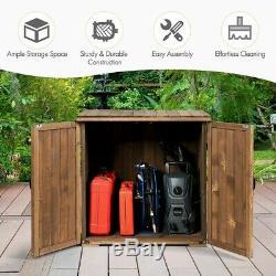 Double Outdoor Wooden Storage Cabinet Cupboard Shed Garden Tools Gardening Wood