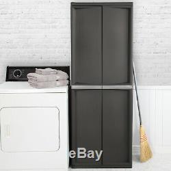 Garage Storage Cabinet Plastic Horizontal Shed Outdoor Lockable Shelves Garden