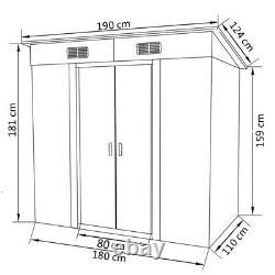 Garden Shed Metal Gray 74.8x48.8x71.3 Garage Tool Storage House