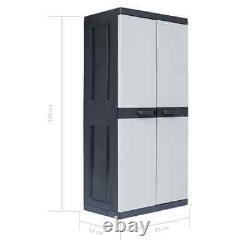 Garden Storage Cabinet Plastic Garage Shed Adjustable Lockable 35x21.3x74.8