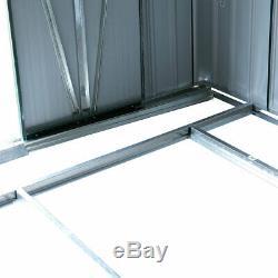 Green 9x10x6ft Garden Tool Shed Steel Metal Storage House Lockable door Outdoor