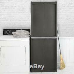 Horizontal Cabinet Storage Shed Outdoor Plastic Garage Shelves Garden Lockable