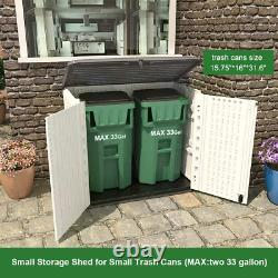 Horizontal Outdoor Garden Storage Shed for Backyards and Patios, Plastic Storage