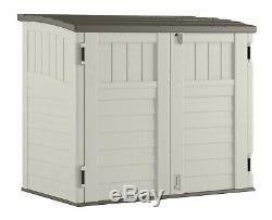 Horizontal Outdoor Storage Shed Vanilla and Stoney 34 Cubic Feet All-weather