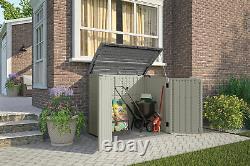 Horizontal Resin Outdoor Storage Shed w Floor, Wide Door, Locking, Vanilla White