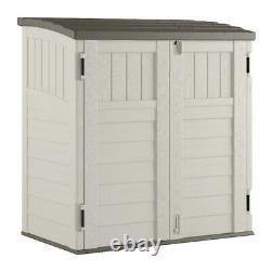 Horizontal Storage 3-Door 34 cu. Ft Outdoor Backyard Storage Shed Vanilla Garden