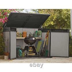 Horizontal Storage Shed Resin Outdoor Garden Gardening Garbage Trash Tools Grey