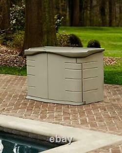 Horizontal Storage Shed Split Lid 2 x 5 ft Outdoor Organizer Olive Sandstone