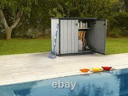 KETER Patio Store 4.6 x 2.5 Foot Resin Outdoor Storage Shed, Grey