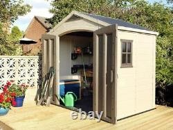 Keter Factor 8x6 Large Resin Outdoor Shed, Taupe/Brown