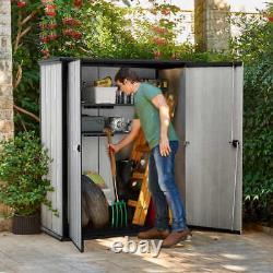 Keter High Store Outdoor Storage Shed with Heavy Duty Floor Panel DBL WALL PANELS