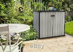 Keter Horizontal Outdoor Storage Shed with Paintable and Drillable Walls Grey