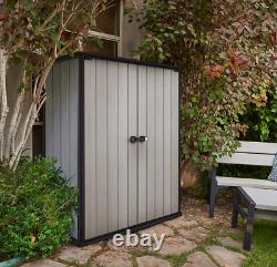 Keter Locking High Store Outdoor Storage Shed with Heavy Duty Floor Panel Patio