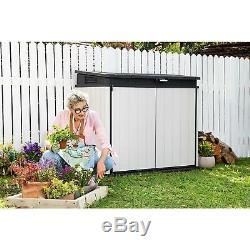 Keter Premier 41 cu. Ft. Horizontal Storage Shed Ideal for trash cans, gardening