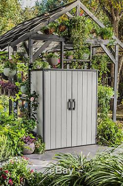Keter Premier Tall Resin Outdoor Storage Shed With Shelving Brackets For Patio