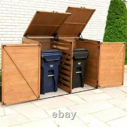 Leisure Season Large Horizontal Wood Trash and Recycling Storage Shed in Brown
