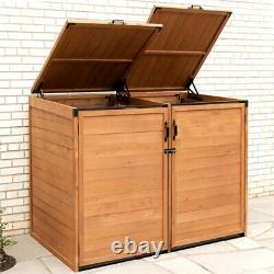 Leisure Season Medium Horizontal Wood Trash and Recycling Storage Shed in Brown