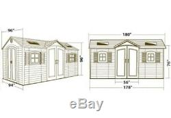 Lifetime Garden Shed 60079 8 x 15 ft Dual Entry Plastic Storage Shed 2 Entryways
