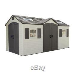 Lifetime Outdoor Storage Shed 15 ft. X 8 ft. Double Door Sturdy Plastic Steel