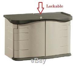Lockable Storage Shed RUBBERMAID Split Lid Outdoor Patio Deck Yard withShelf 18 cf