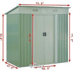 Outdoor Galvanized Steel Tool Storage Shed Sliding Door 2 Sliding Doors