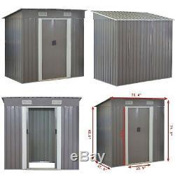 Outdoor Garden Storage Shed Tool House Sliding Door Steel Warm Gray Weatherproof