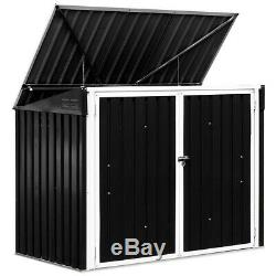 Outdoor Horizontal Storage Shed 68 Cubic Feet F/ Garbage Cans Garden Opening Lid
