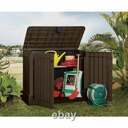 Outdoor Plastic 4x2.5 Ft Storage Garage Shed Horizontal Garden Utility Box Brown