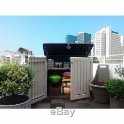 Outdoor Plastic Storage Shed Horizontal Garden Garage Tool Utility Box Weather